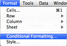 Mengakses Conditional Formatting melalui Menu Bar
